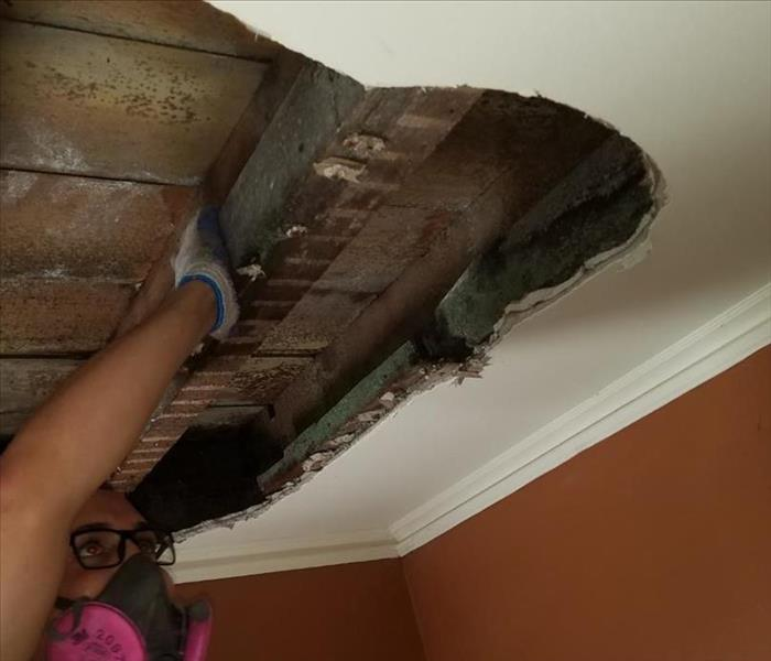 tearing off ceiling