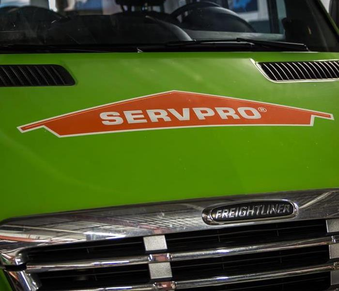 SERVPRO van in garage
